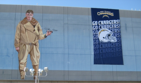 Even Charles Lindbergh gets in on the act of cheering on the Chargers. This picture of the side of the Commuter Terminal at San Diego International Airport was taken the Friday before the big game. Thanks to Catherine in Small Business Development for snapping this shot.