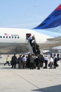 San Diego Chargers team members boarding a chartered Delta Airlines flight last Friday to do battle against the Steelers in Pittsburgh. Thanks to Cynthia in Marketing & Communications for taking this shot.