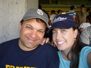 My husband and I enjoying a Padres game.