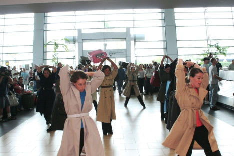 San Diego Dance Theater performing 'Rolling Luggage' in Terminal 2 West.